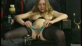 Horny slave tied in dungeon got her pussy spread by master and clamps on her big boobs