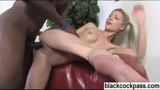 Teen bent over sofa and brutalized by black master
